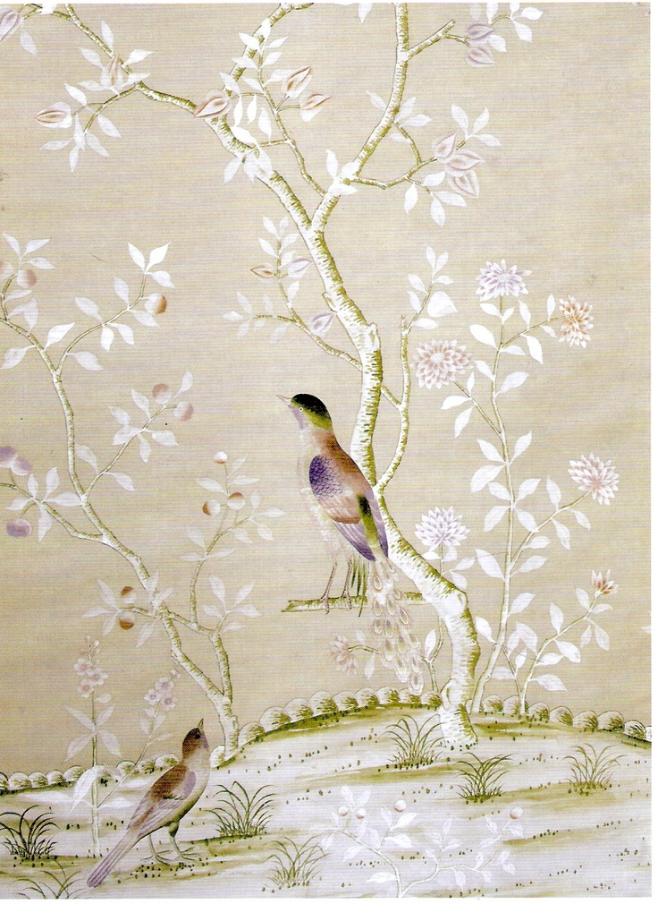 De Gournay. Hand-dyed silk wallpaper for House of Lavande's walls.