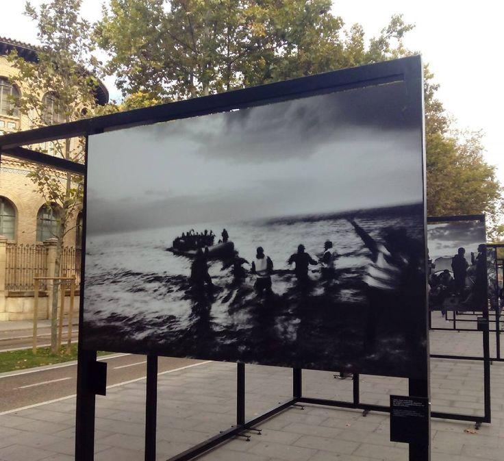 """80 metros lineales del paseo de Gran Vía acogen hasta el 11 de diciembre """"Caminos de exilio"""", una exposición que recoge una selección de imágenes impactantes de cinco fotoperiodistas que muestran la tragedia y la humanidad de los refugiados sirios.  Como un testimonio del camino recorrido por familias que han tenido que huir de países en conflicto, se ha reunido el trabajo de cinco grandes fotógrafos reconocidos internacionalmente: Manu Brabo, Sima Diab, Olivier Jobard, Pierre Marsaut y…"""