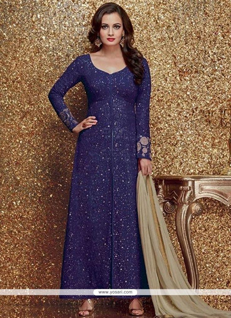 Glorious Faux Georgette Blue Designer Suit Model: YOS9490