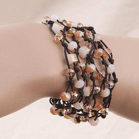 Handmade Black Bracelet With Shimmering Crystals At Anthoshop.com