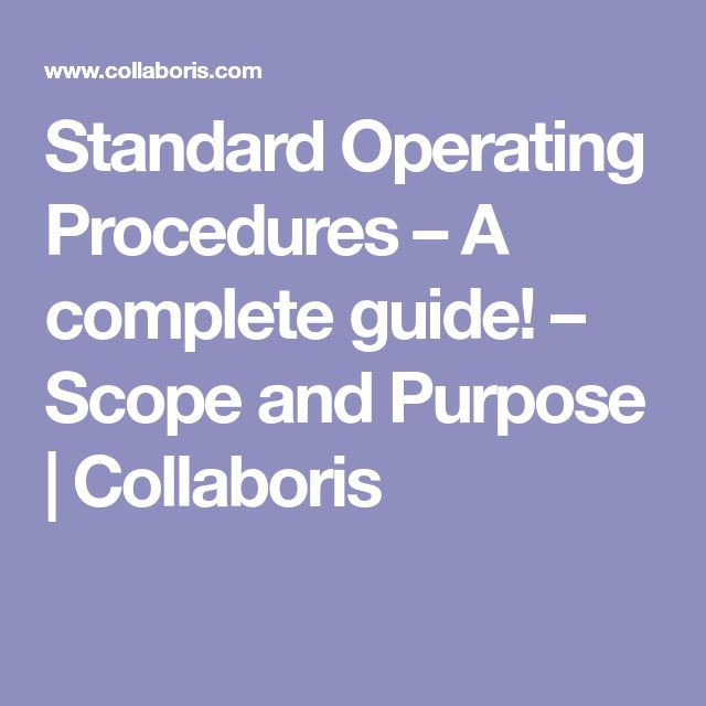 The  Best Standard Operating Procedure Ideas On