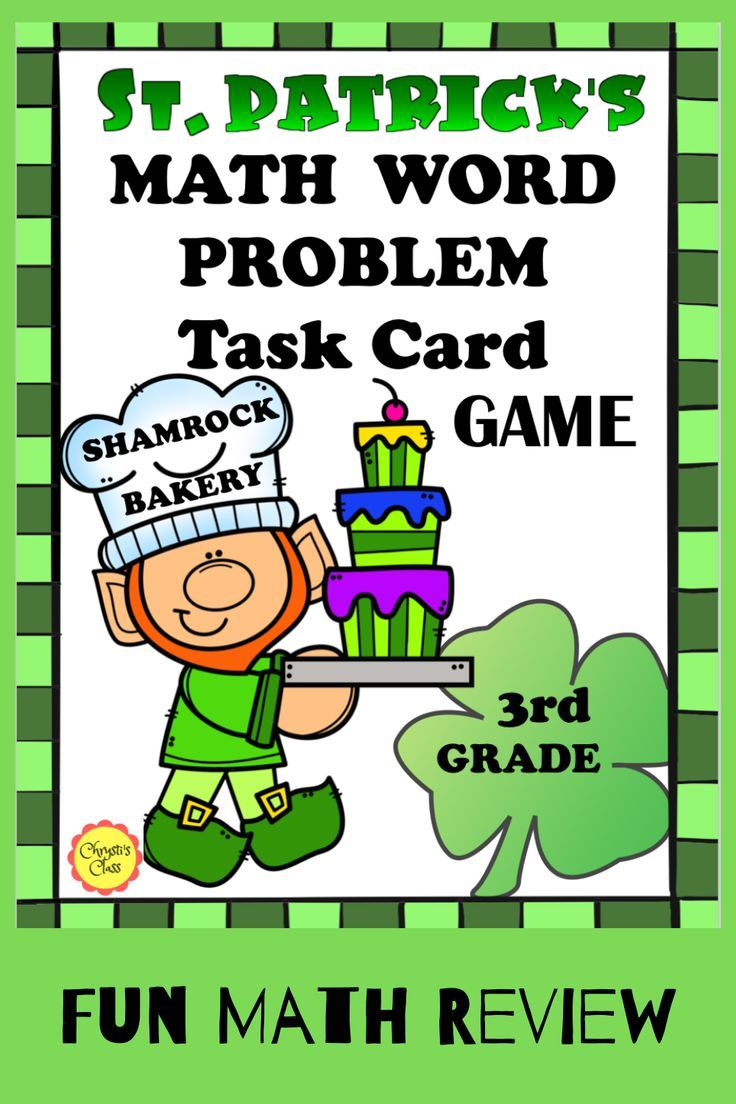 St Patrick S Day Math Word Problem Task Card Game For 3rd Print And Digital Math Words Math Word Problems Word Problems [ 1104 x 736 Pixel ]