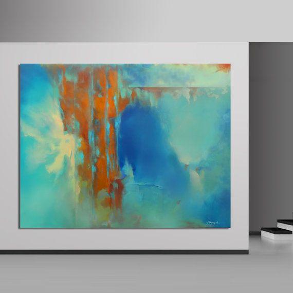 Grande abstraite peinture 200 cm bleu orange peinture par Artoosh