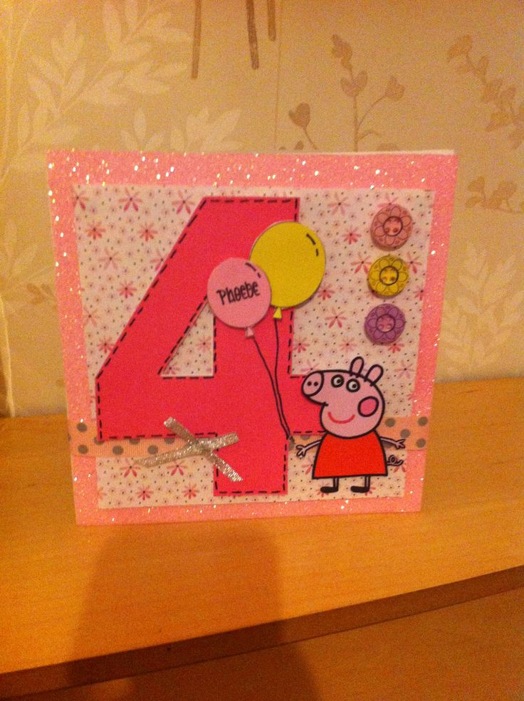 Peppa pig card handmade birthday