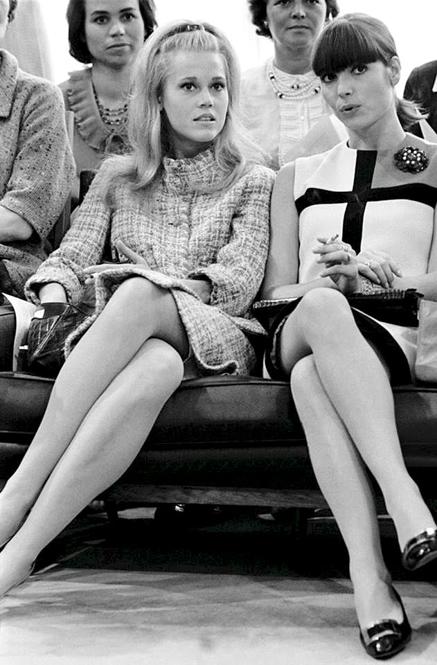 Jane Fonda and Elsa Martinelli front row at Yves Saint Laurent's fashion show in Paris, 1965. Photo by Giancarlo Botti.