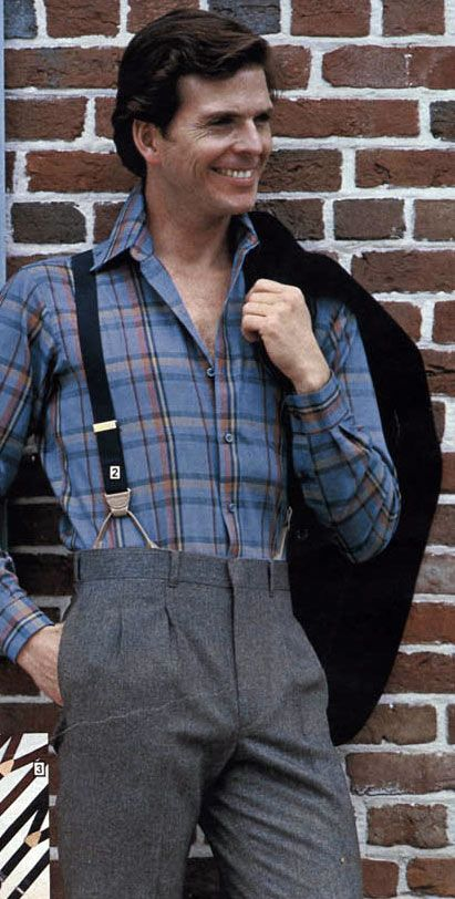 Vintage Clothing Do You Think Its Coming Back: Men's Plaid Shirt Suspenders From A 1983 Catalog. #1980s