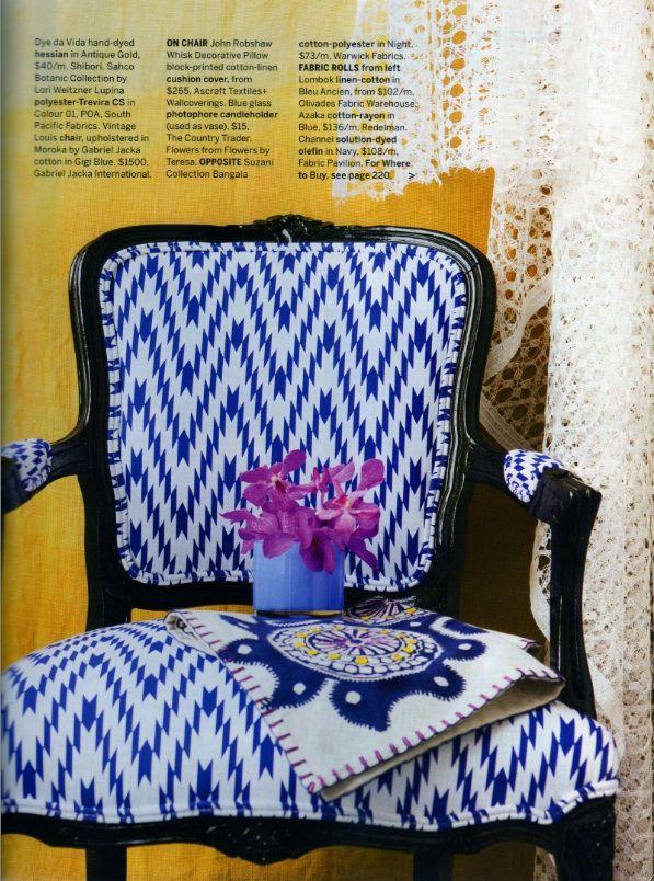 Moroka on a beautiful louis chair as found in Australian House and Garden Magazine