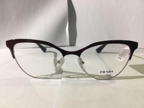 148a6c626b New Prada Vpr 55s Uf6 Burgundy Silver Tortoise Eyeglasses 52mm ...