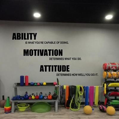 Details about motivational fitness wall decal quote sports gym