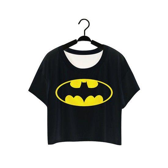 Black Batman Crop Top