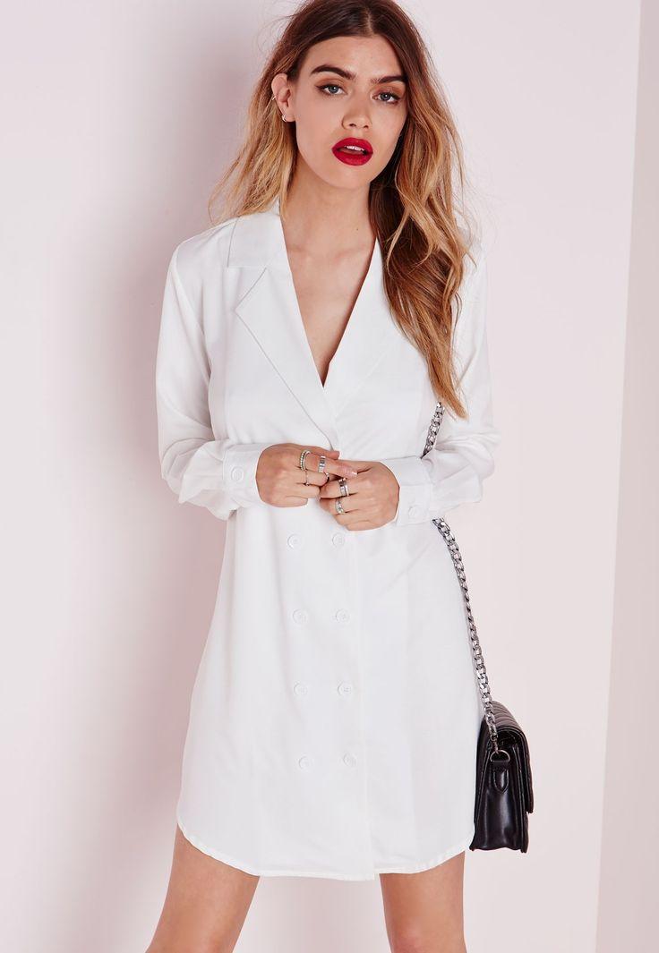 Missguided - Double Button Curve Hem Shirt Dress White
