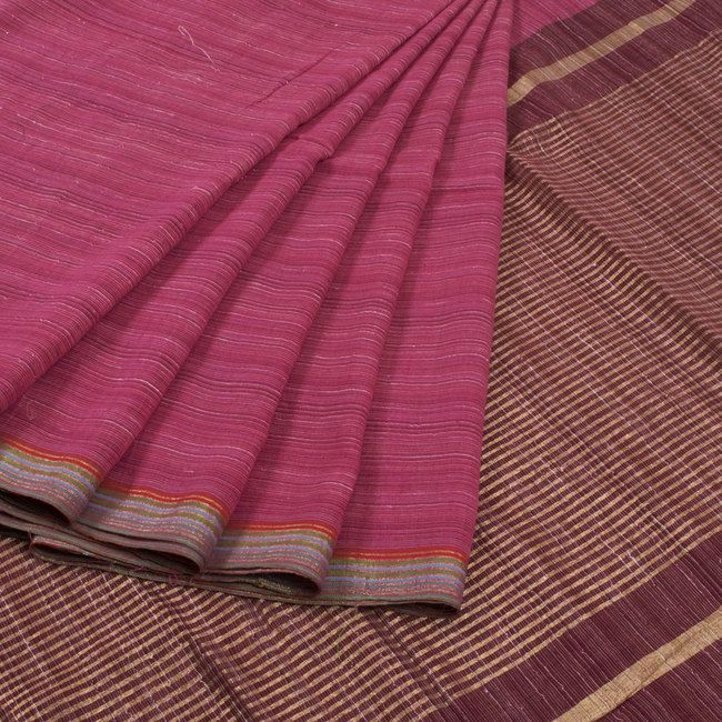Buy online Handwoven Pink Khadi Cotton Saree With Stripes 10013792