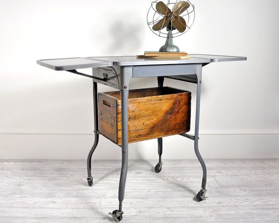 Vintage Industrial Metal Typing Table on Casters by havenvintage, $78.00