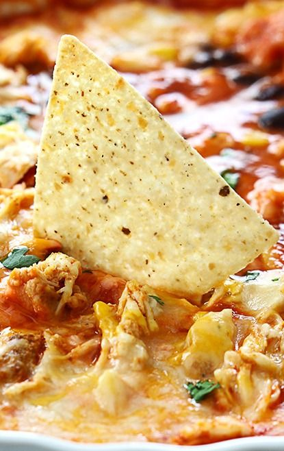 chicken enchilada dip - I would add a layer of cream cheese at the ...