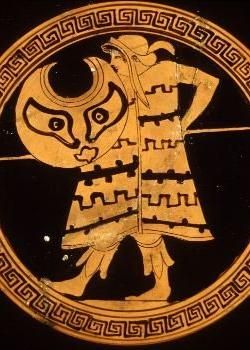 Thracian warrior with Thracian crescent-shaped wicker shield called pelte, image from Greek vase