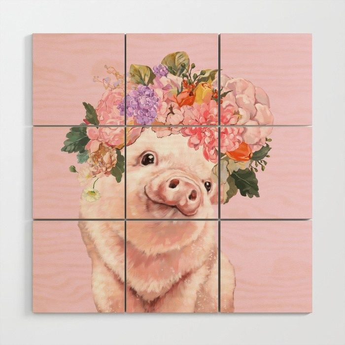 Buy Baby Pig with Flowers Crown Wood Wall Art by bignosework