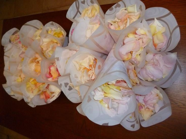 Confetti cones filled with rose petals
