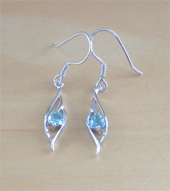 925 Blue Topaz Earrings/Sterling Silver Topaz Earrings/Topaz