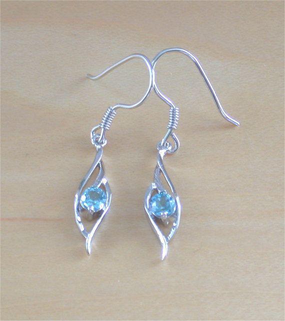 925 Blue Topaz  Earrings/Sterling Silver by joannasjewellerycouk
