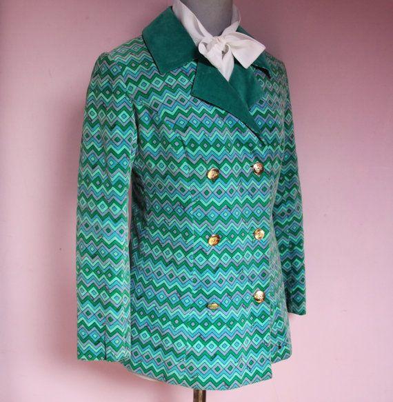 Sale! Emilio PUCCI vintage fluwelen jasje blazer geometrische patroon levendige kleuren 60s 70s 1960 1970 psychedelische mod op gucci kunststijl
