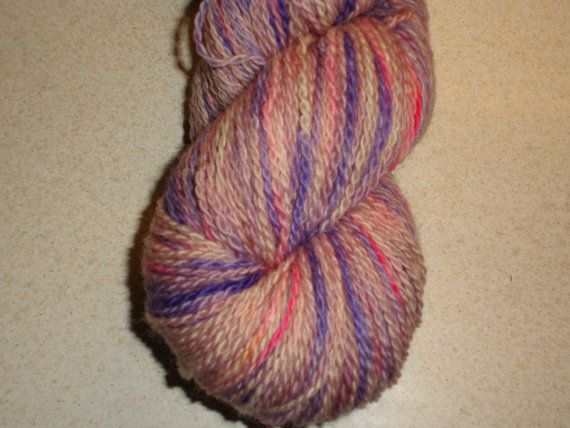 Luxury Hand Dyed Bluefaced Leicester Wool Sock Yarn, 2-ply Glorry Morning Purple, Lavender, Violet, Rose, Pink and Yellow .