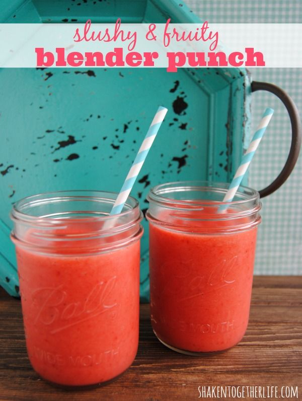 Slushy fruit blender punch - only 4 ingredients: One 10 oz. package of frozen strawberries, One 6oz. can of frozen lemonade,One 8 oz. can crushed pineapple (with juice), One 12 oz. can LaCroix sparkling water.
