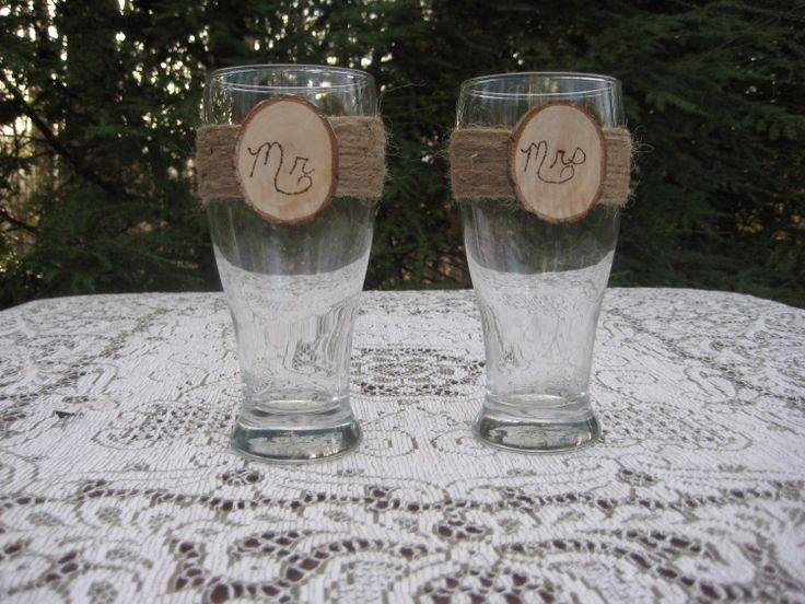 Rustic Wedding Bride and Groom Beer Pilsner Glasses Mr and Mrs. $22.00, via Etsy.