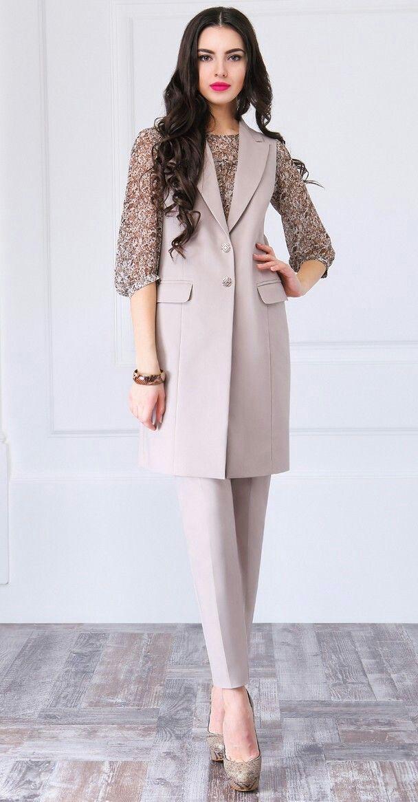Костюм женский тройка (жакет, блуза, брюки)  LaKona