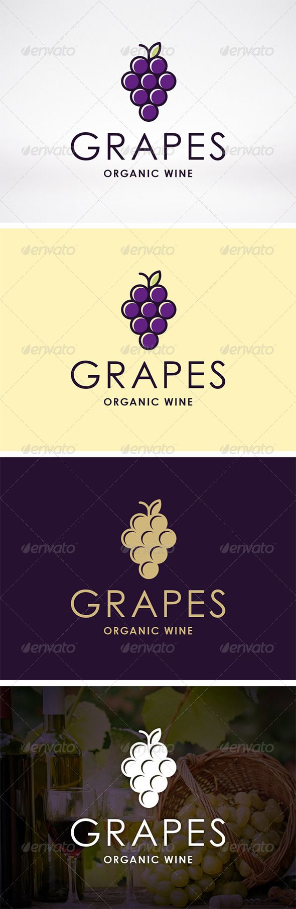 Wine Logo Template  #GraphicRiver         - Three color version: color, greyscale and single color.   - The logo is 100% resizable.   - You can change text and colors very easy using the named and organized layers that includes the file.   - The typography used is Century Gothic a system default font.         Created: 22November13 GraphicsFilesIncluded: VectorEPS