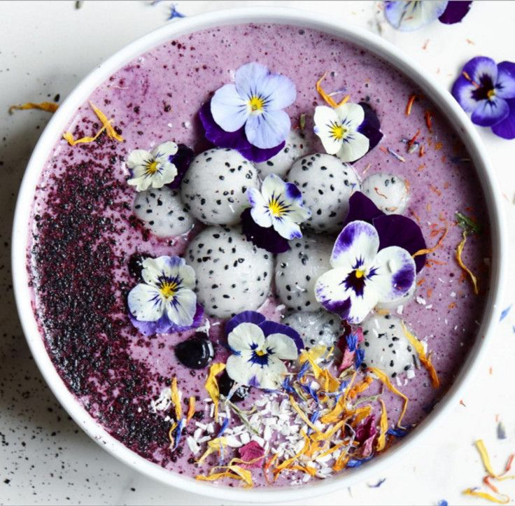 Blueberry-dragon fruit smoothie bowl …