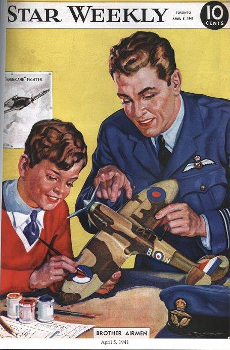 Forty thousand boys in high schools across Canada worked on the production of scale models of fighting aircraft to be used to train pilots, observers, and gunners in the British Commonwealth Air Training program. This Star Weekly cover dated April 5, 1941 shows a father and son working on a scale model.