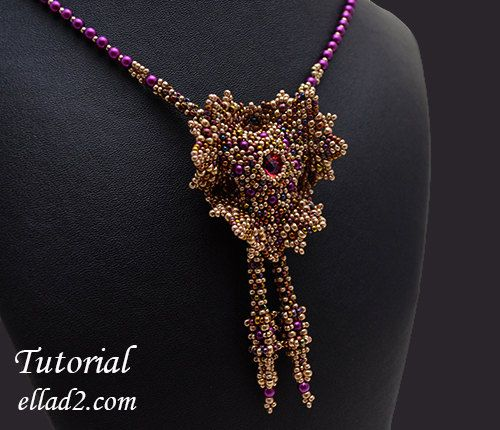 Tutorial Evening Glory Necklace  Beading Tutorial by Ellad2