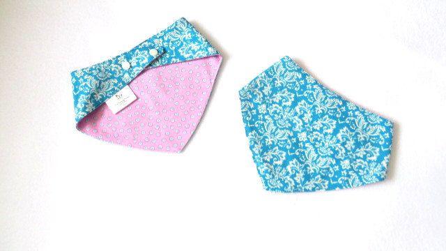 A personal favorite from my Etsy shop https://www.etsy.com/ca/listing/516739175/blue-drool-bib-bandana-bib-pink-bandana