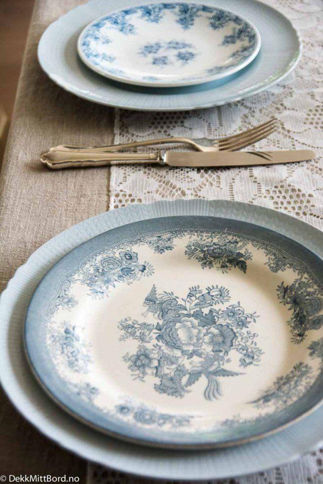 Lyseblå mix - Delicious light blue mix #borddekking #table setting #wedding #party #selskap #bryllup #konfirmasjon #dåp #rörstrand #utleie