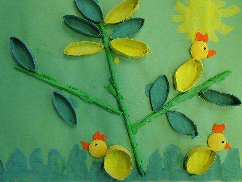 """Maalaa yksi WC-rulla vihreäksi ja toinen keltaiseksi. Päällystä """"keppi"""" vihreällä silkkipaperilla tai maalaa keppi.Maalaa tipun pää keltaiseksi. Kun WC-rullien maali on kuivaa, litistä rulla lattanaksi ja leikkaa tasakokoisia siivuja. Sommittele työ pohjakartongille ennen liimaamista. Kun työ on täysin kuiva, maalaa lehdet sisäpuolelta pulloväreillä.Leikkaa tipulle heltta ja nokka huovasta tai kartongista. Piirrä tussilla tipulle silmä ja tarvittaessa jalat.Maalaa ruohikkoa ja kukkia"""