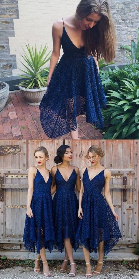asymmetrical bridesmaid dresses, navy blue bridesmaid dresses, lace bridesmaid dresses, v neck bridesmaid dresses