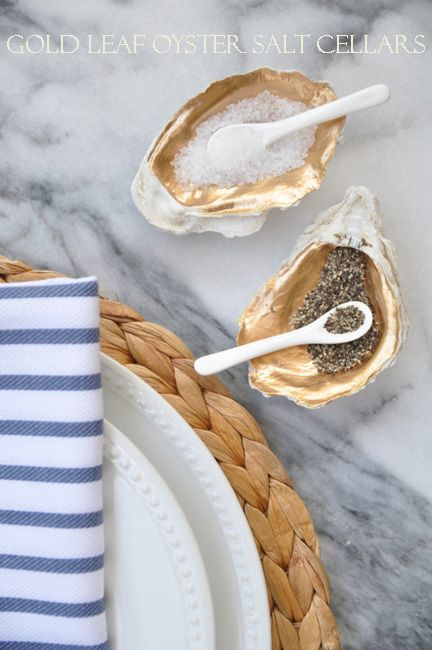 Bungalow Blue Interiors - Home - gold leaf oyster salt cellars