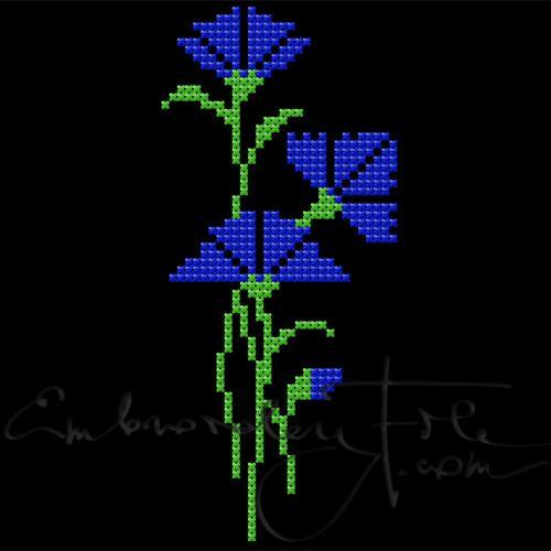 Cornflowers in cross stitch II E