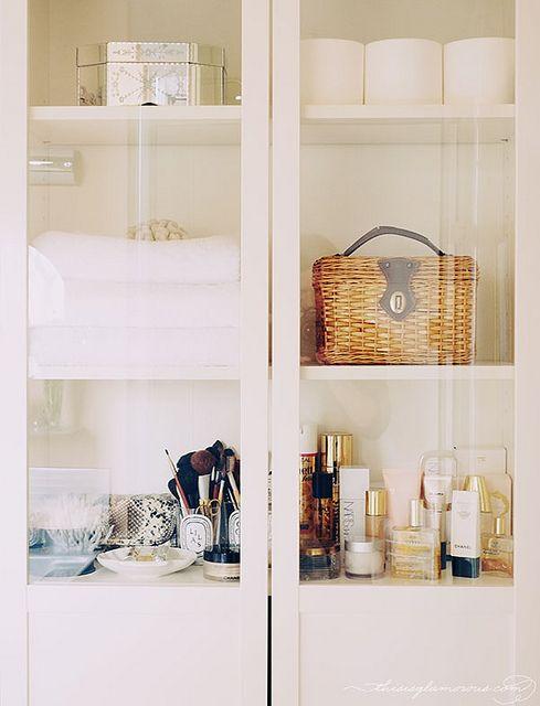 Organized makeup cabinet.