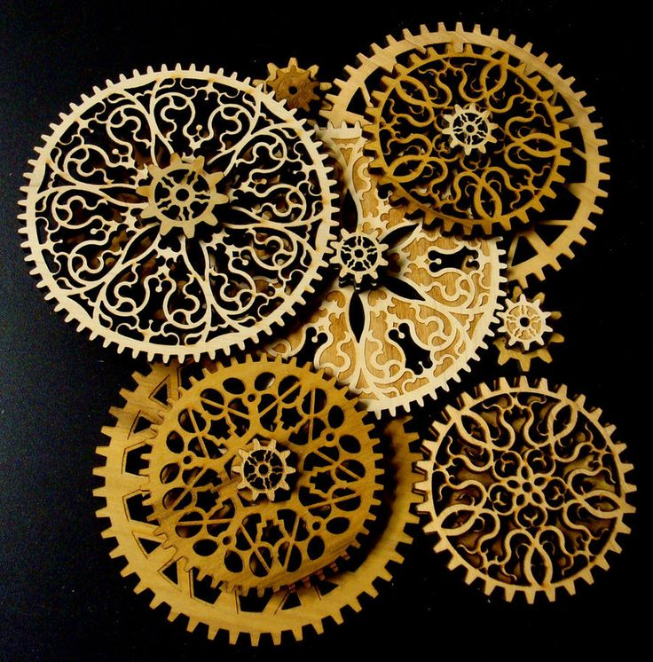 In Gear by *savageworlds  I have plans to construct a weight-driven mechanical clock. These preliminary gear designs are to find out which patterns are both mechanically sound and aesthetically pleasing. Ranging in size from about 1 inch to 5 inches in diameter, they are laser-cut from 1/4 inch poplar. The final parts will likely be cut from baltic birch plywood to reduce warpage and weakness along the grain.