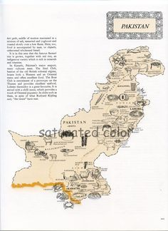 Pakistan Map - Vintage 1960s Food Map of Pakistan. $8.00, via Etsy.