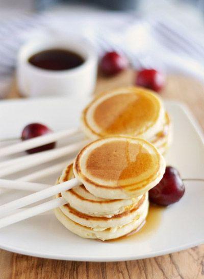 20 Mouthwatering Miniature Food Ideas: pancakes on a stick via Little Inspiration