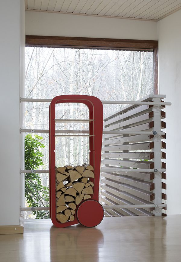 red Fleimio Trolley with firewood logs.