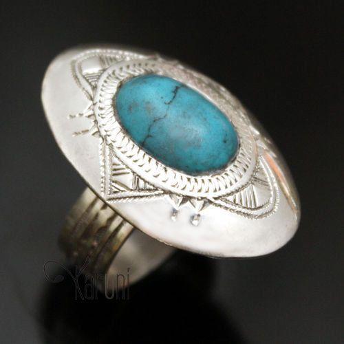 Bijoux Touareg Ethniques Bague en Argent Turquoise Ovale - KARUNI