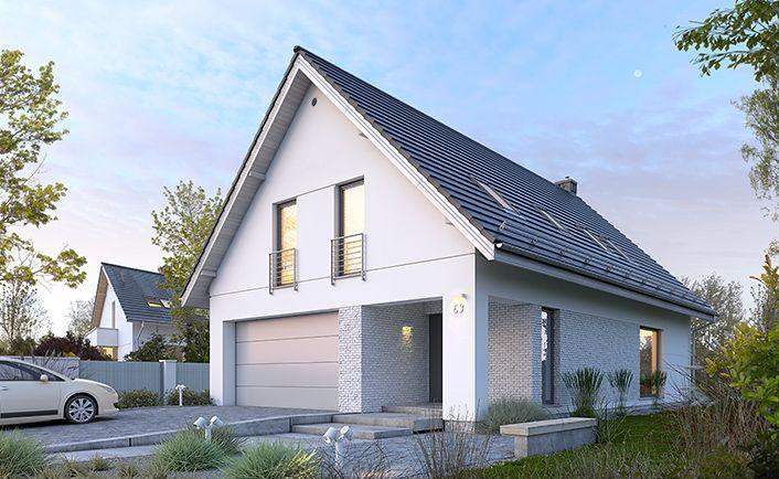 Dostępny 3 - wizualizacja 1 - nowoczesny projekt małego domu z podwójnym garażem