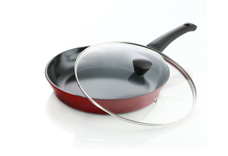 Flamekiss 12' Red Ceramic Coated Fry Pan by Amorè, Innovative and Elegant Design, Nano Ceramic Coating w/ Silver Ion (100% PTFE and PFOA Free) w/ Glass Lid *** Details can be found by clicking on the image.