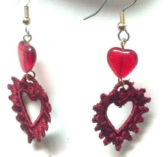 Red Open Heart Earrings by teresadelosh on Etsy
