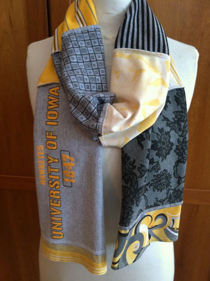 UPCYCLED t-shirt scarf... University of IOWA... Hawkeyes... black and old gold. $24.99, via Etsy.