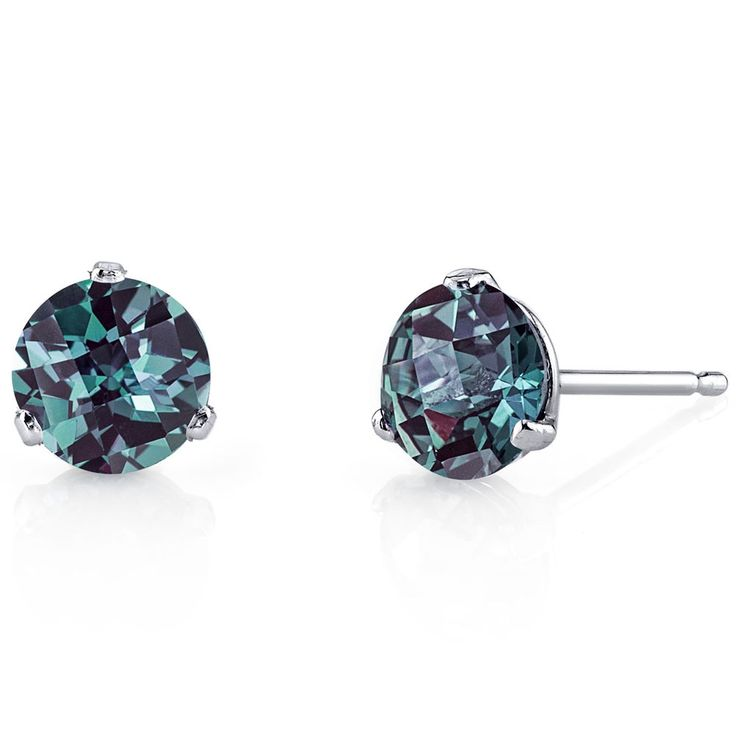 14K White Gold Round 3 Prong Martini Alexandrite Earrings #JRyanFineJewelry #Stud