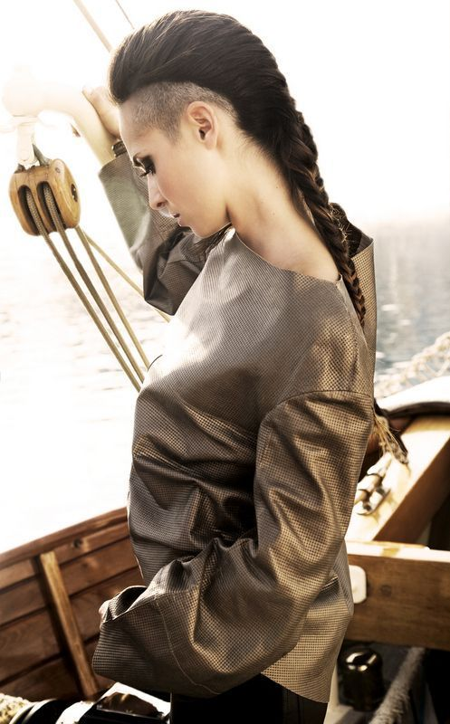 undercut long hair woman braid